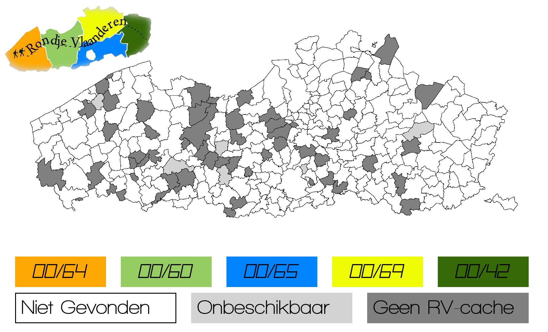 Persoonlijke ingekleurde kaart van de gevonden gemeentes